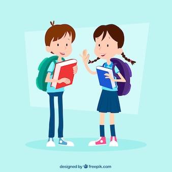 Mão desenhada crianças prontas para voltar para a escola