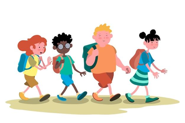 Mão desenhada crianças volta às aulas
