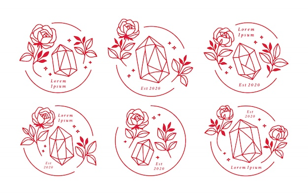 Mão desenhada cristal vintage e coleção de elementos de logotipo de flor rosa