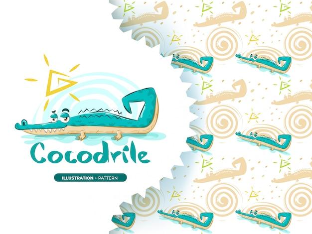 Mão desenhada crocodilo fofo com conjunto padrão