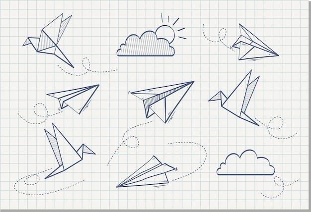 Mão desenhada de avião de papel com papel pássaro, ilustração vetorial