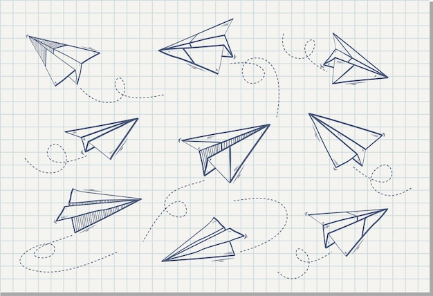 Mão desenhada de avião de papel, ilustração vetorial