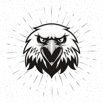 Mão desenhada de cabeça de águia