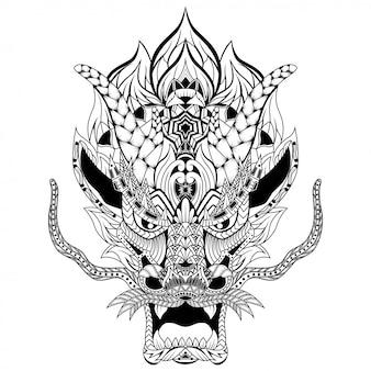 Mão desenhada de cabeça de dragão em estilo zentangle