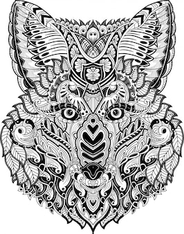Mão desenhada de cabeça de raposa em zentangle doodles
