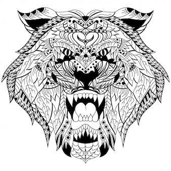 Mão desenhada de cabeça de tigre em estilo zentangle