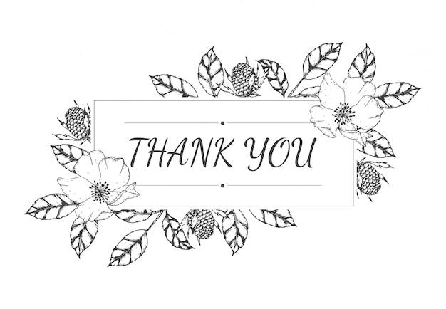 Mão desenhada de cartão de agradecimento floral vazio