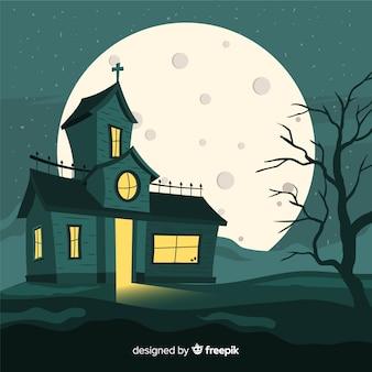 Mão desenhada de casa assombrada de halloween assustador