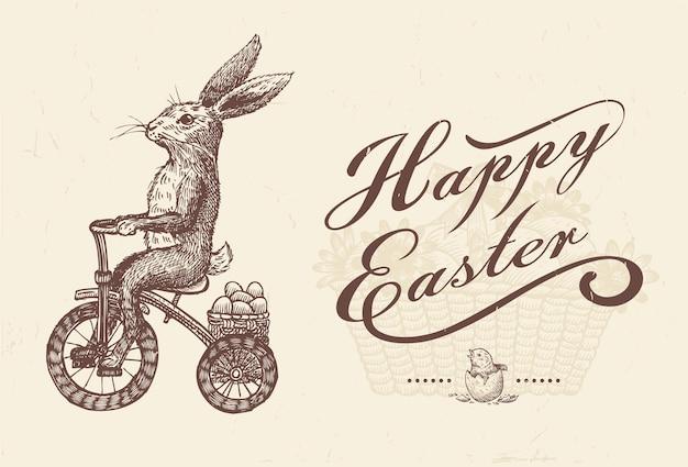 Mão desenhada de coelho andando de bicicleta.