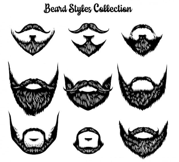 Mão desenhada de coleção de estilos de barba