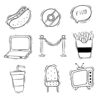Mão desenhada de coleção de ícones de filme ou cinema