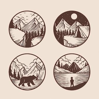 Mão desenhada de coleção de logotipo de aventura