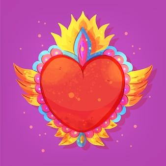 Mão desenhada de coração sagrado