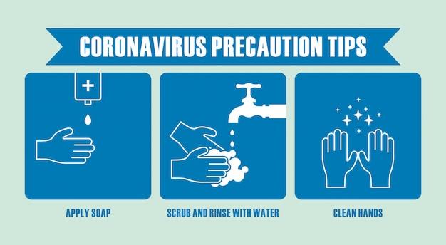 Mão desenhada de dicas de precaução de coronavírus. ilustração