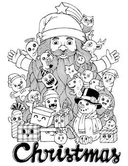 Mão desenhada de doodle bonito dos desenhos animados de natal.