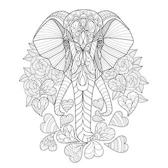 Mão desenhada de elefante e coração