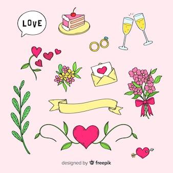 Mão desenhada de elementos de dia dos namorados