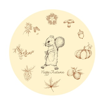 Mão desenhada de esquilo com plantas de outono