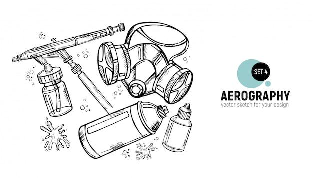 Mão desenhada de ferramentas de aerografia.
