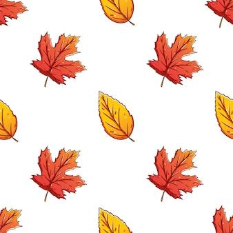 Mão desenhada de folhas de outono coloridas sem costura de fundo