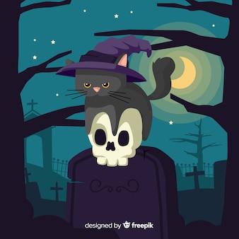 Mão desenhada de gato preto bonito halloween sentado em uma lápide
