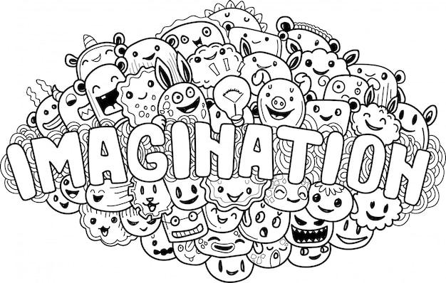 Mão desenhada de imaginação de monstro bonito doodle