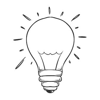 Mão desenhada de lâmpada brilhante, isolada no fundo branco.