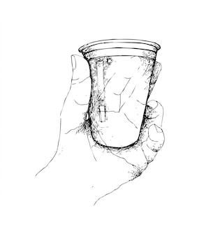 Mão desenhada de mão segurando o copo de café descartável