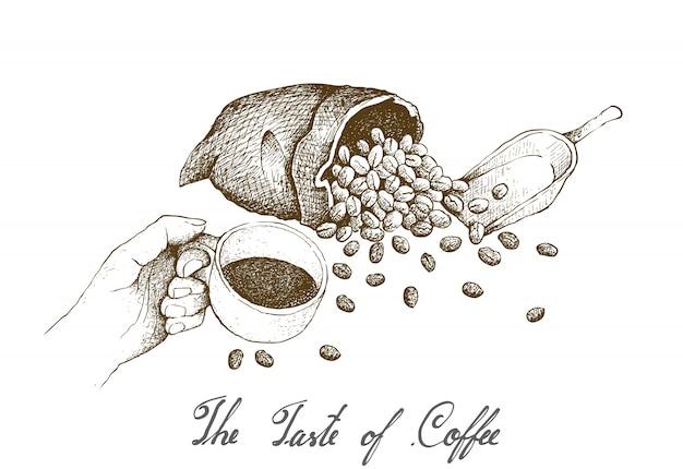 Mão desenhada de mão segurando uma xícara de café quente