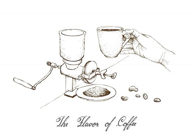 Mão desenhada de moedor de café manual com café