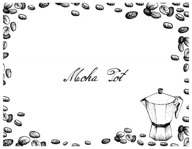 Mão desenhada de moka pot com grãos de café