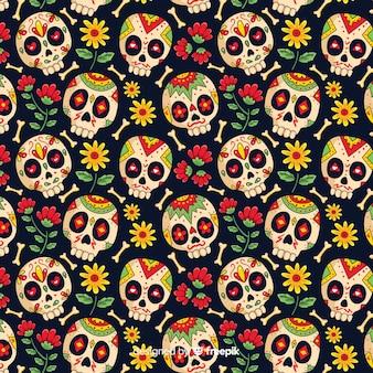 Mão desenhada de padrão de dia de muertos