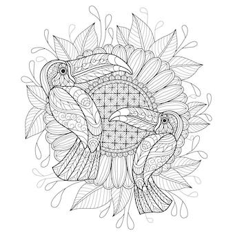 Mão desenhada de pássaros tucano e girassol