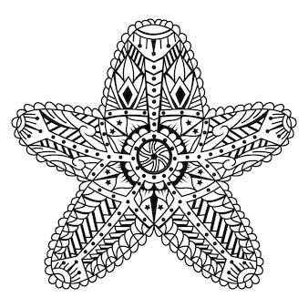 Mão desenhada de peixe estrela em estilo zentangle