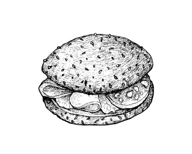 Mão desenhada de sanduíche de pão integral com presunto