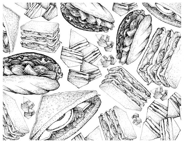 Mão desenhada de vários sanduíches no fundo branco