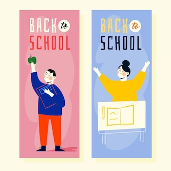 Mão desenhada de volta à coleção de banners de escola