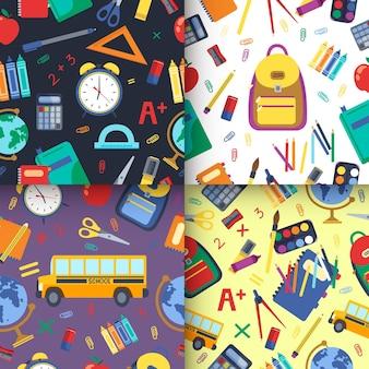 Mão desenhada de volta à coleção de padrão de escola