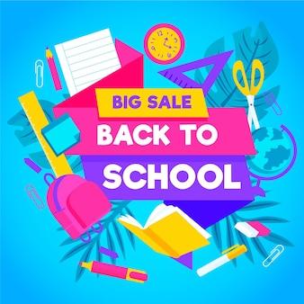 Mão desenhada de volta ao banner de vendas da escola