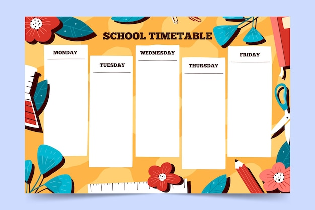 Mão desenhada de volta ao calendário escolar