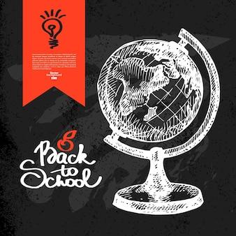 Mão desenhada de volta ao fundo da escola. esboço de educação. ilustração vetorial. design de quadro-negro