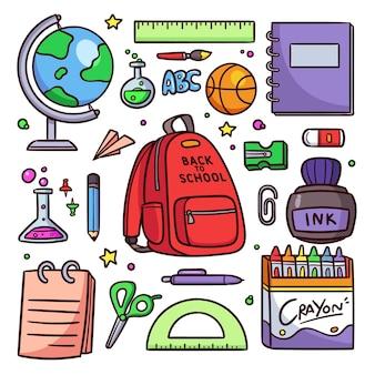 Mão desenhada de volta ao fundo da escola