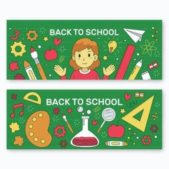 Mão desenhada de volta ao modelo de banners de escola