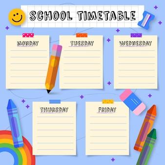 Mão desenhada de volta ao modelo de calendário escolar
