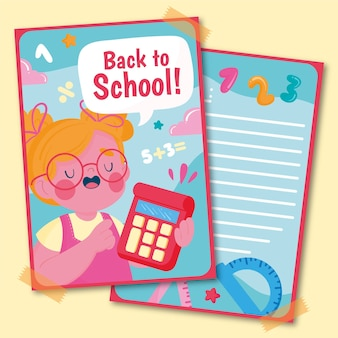 Mão desenhada de volta ao modelo de cartão de escola