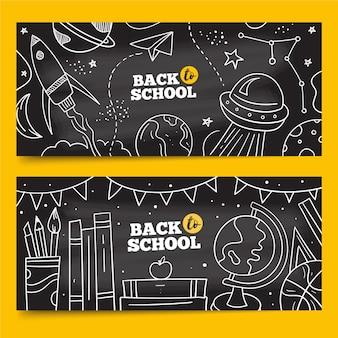 Mão desenhada de volta ao pacote de banners escolares