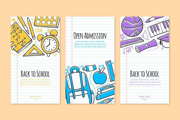 Mão desenhada de volta às histórias do instagram de escola