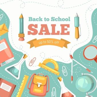 Mão desenhada de volta às vendas da escola