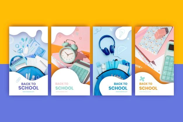 Mão desenhada de volta para a coleção de histórias do instagram da escola com foto