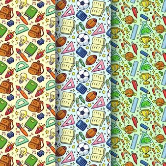 Mão desenhada de volta para coleção de padrões escolares